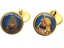 Victorian 18ct Gold Indian Portrait Miniature Cufflinks