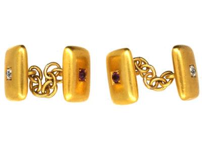 Edwardian 15ct Ruby & Diamond Rectangular Cufflinks