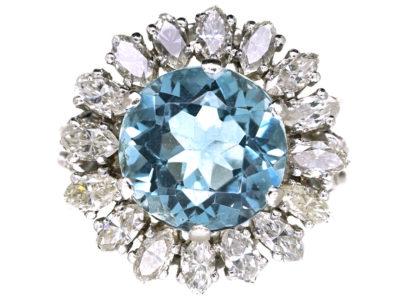 18ct White Gold Aquamarine & Diamond Cluster Ring
