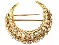 Victorian 18ct Gold & Diamond Crescent Brooch