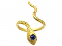 Edwardian 18ct Gold Snake Ring Set With a Sapphire & Diamond Eyes