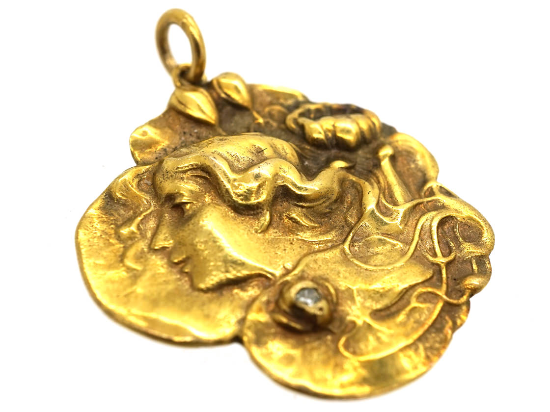 Art Nouveau 14ct Gold Pendant of a Lady in Water Lilies