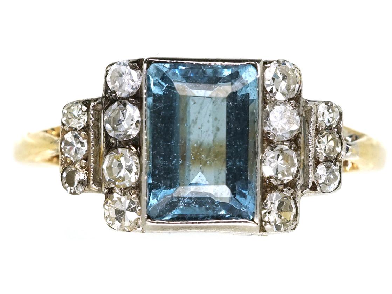 Art Deco 18ct Gold & Platinum, Aquamarine & Diamond Ring