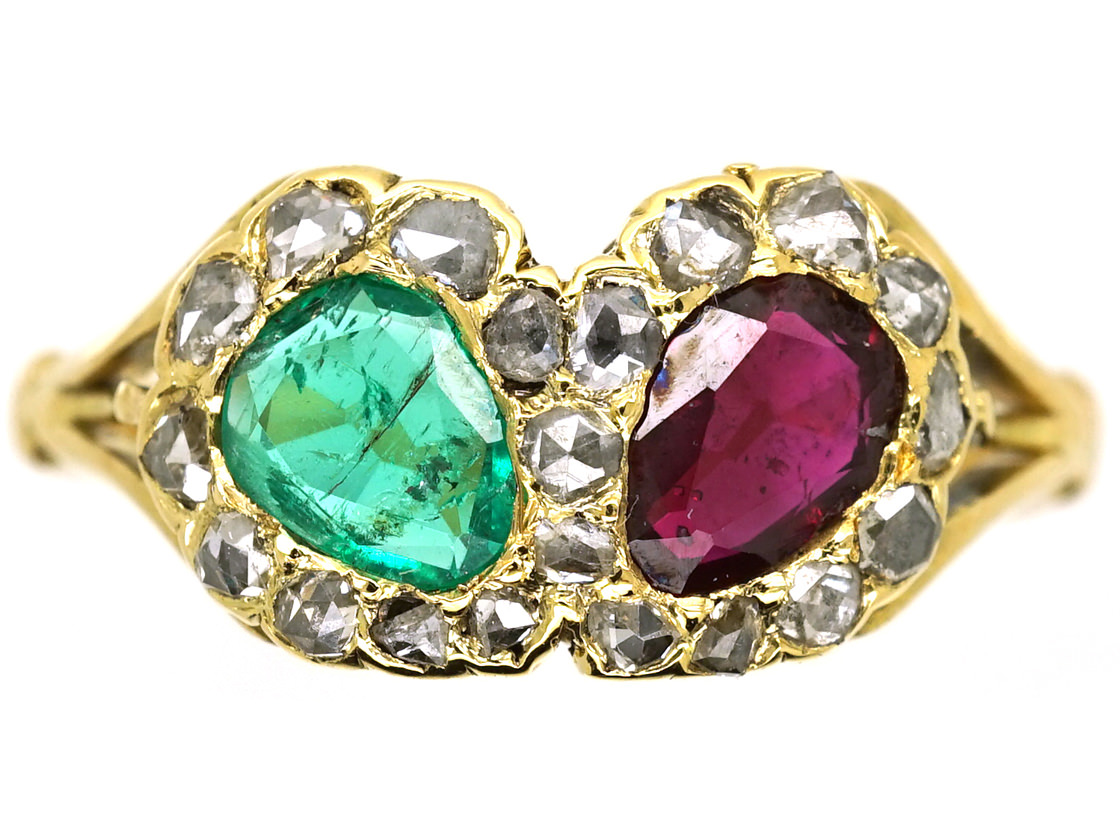 Victorian 18ct Gold Double Heart Ring Set With a Ruby & an Emerald