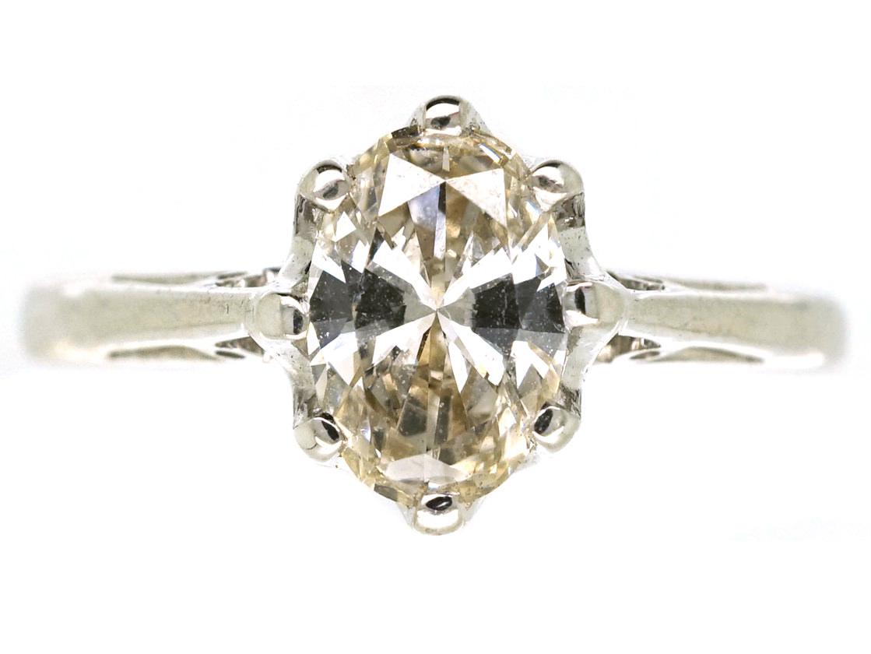 18ct White Gold, Oval Diamond Single Stone Ring