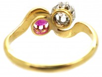 Edwardian 18ct Gold Ruby & Diamond Crossover Ring
