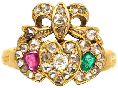 Edwardian 18ct Gold Triple Heart Diamond Ruby & Emerald Ring