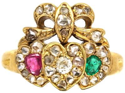 Edwardian 18ct Gold Triple Heart Diamond Ruby & Emerald Ring