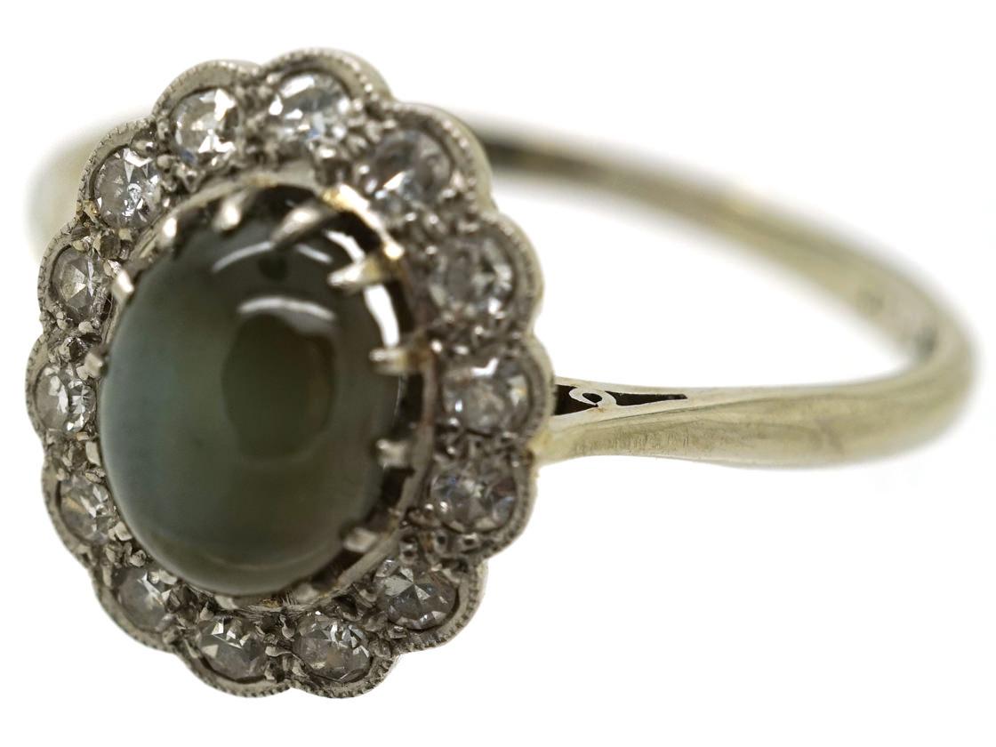 Edwardian 18ct White Gold & Platinum Cat's Eye Chrysoberyl Ring