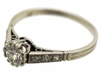 Platinum & Diamond Solitaire Ring With Diamond Shoulders