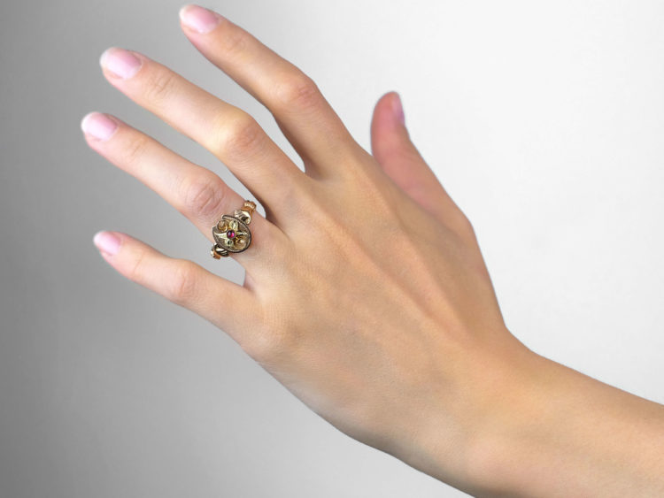 Two Colour Gold Hands & Horseshoe Ring