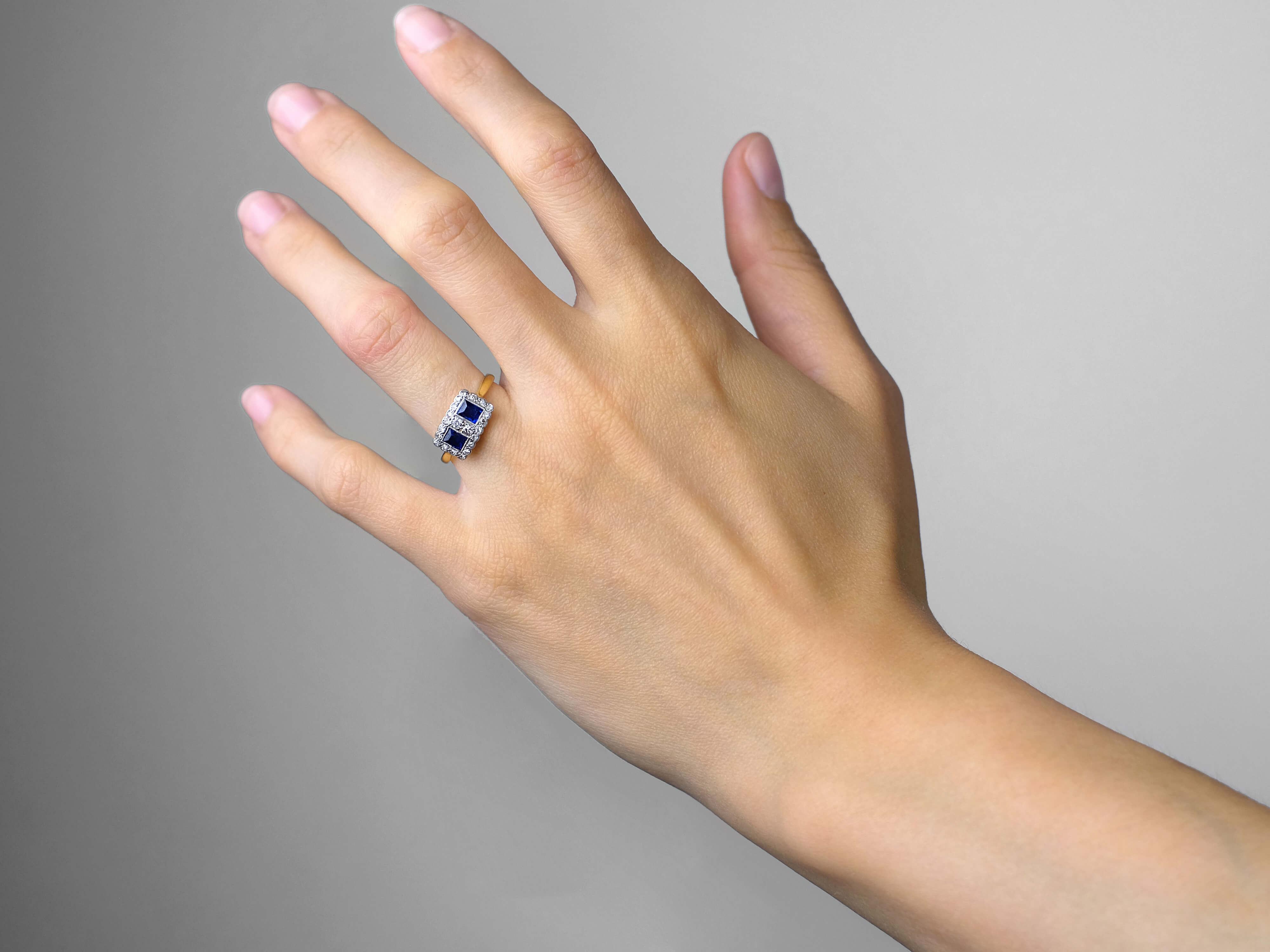 Art Deco 18ct Gold & Platinum, Sapphire & Diamond Two Square Ring
