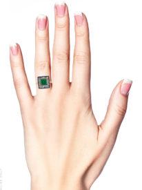 Art Deco Sapphire, Emerald & Diamond Square Ring