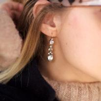 Georgian Silver & Gold, Paste Pear Shaped Drop Earrings