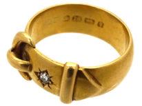 Victorian 18ct Gold & Diamond Buckle Ring