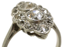 Art Deco Platinum Diamond Marquise Cluster Ring