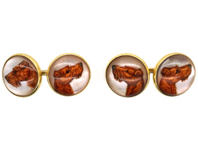 18ct Gold Reverse Intaglio Crystal Cufflinks of Irish Terriers