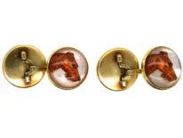 18ct Gold Reverse Intaglio Crystal Cufflinks of Irish Terriers