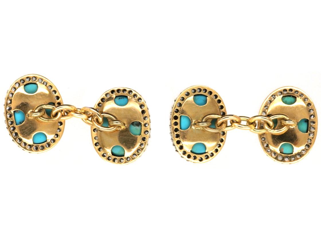 Edwardian 18ct Gold, Turquoise & Rose Diamond Cufflinks