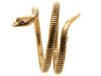 9ct Gold & Ruby Snake Bangle