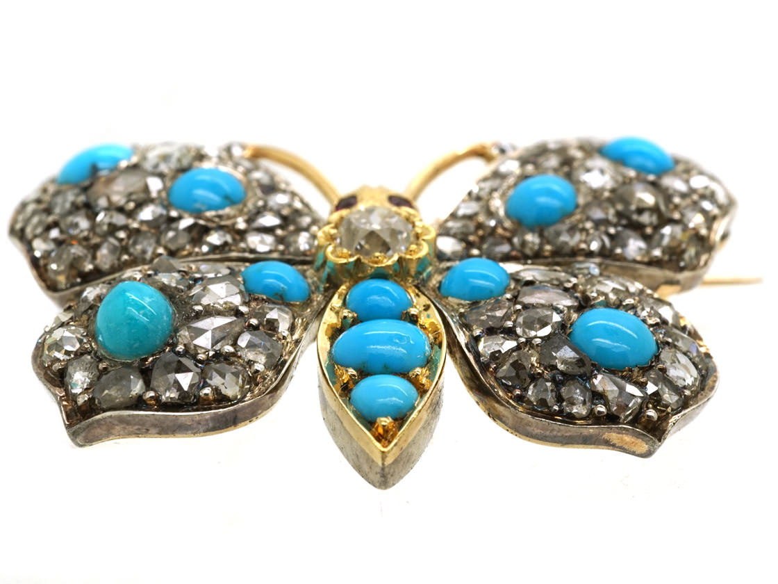 18ct Gold Diamond & Turquoise & Ruby Butterfly Brooch