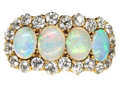 Edwardian 18ct Gold, Four Stone Opal & Diamond Ring