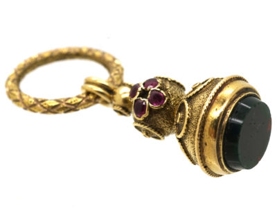 Georgian Gold Seal Set With Rose Diamonds & Rubies & a Bloodstone Base