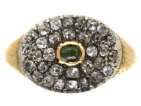 Georgian Diamond & Emerald Oval Cluster Ring