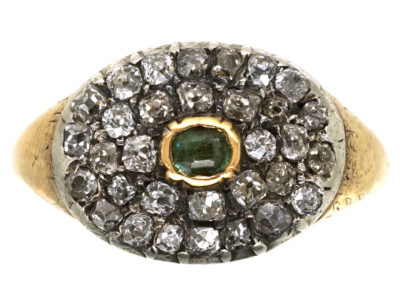 Georgian Diamond & Emerald Oval Cluster Ring