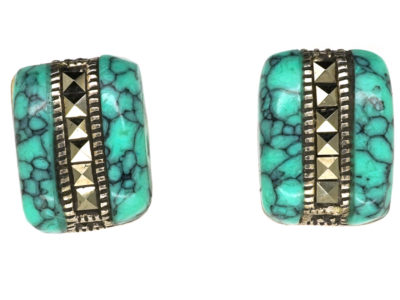 Silver Turquoise & Marcasite Earrings