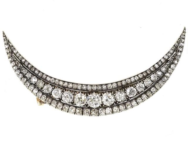 Victorian Diamond Crescent Brooch