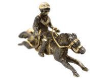 Victorian Silver & Gold Horse & Jockey Brooch