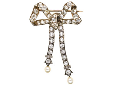 Edwardian Articulated Bow Brooch Set With Diamonds & Natural Pearls