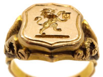 Victorian 18ct Gold Signet Ring With Lion Intaglio