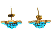 Edwardian Gold & Turquoise Cluster Earrings