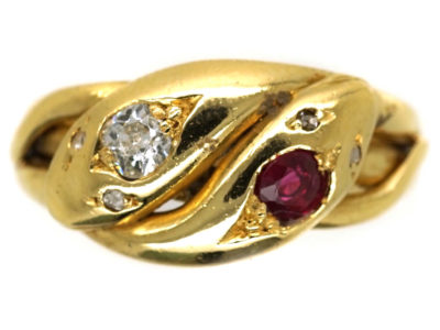 Victorian 18ct Gold Snake Ring Set With a Ruby & a Diamond
