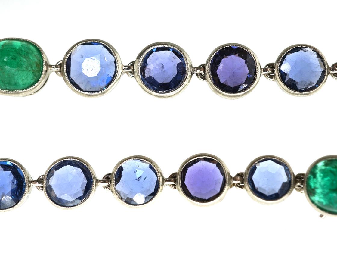 Edwardian Platinum, Sapphire & Emerald Bracelet