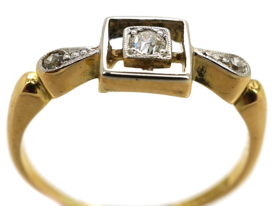 Art Deco 18ct Gold, Platinum & Diamond Square Ring