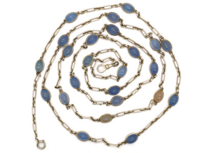 Russian Silver Long Guard Chain Set With Chalcedony