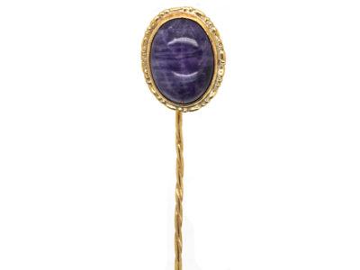 Edwardian 9ct Gold & Cabochon Amethyst Tie Pin