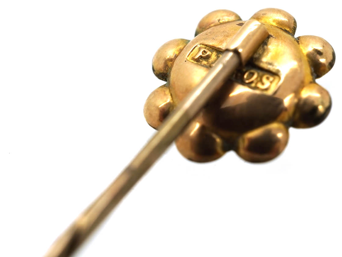 Edwardian 9ct Gold Tie Pin Set with a Garnet
