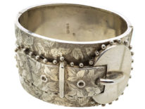 Victorian Wide Silver Engraved Buckle Bangle
