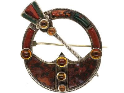 Victorian Scottish Silver, Jasper & Bloodstone Brooch