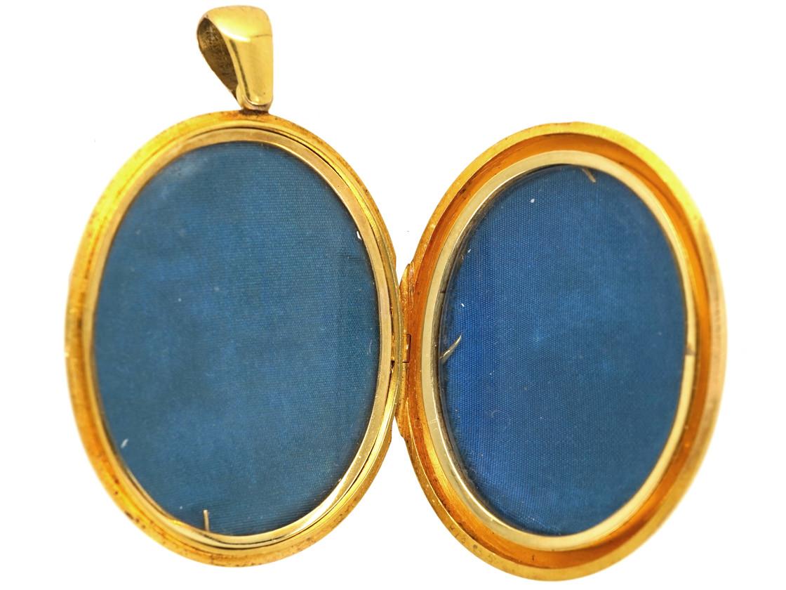 Victorian 18ct Gold Locket With Natural Split Pearl & Rose Diamond Star Motif