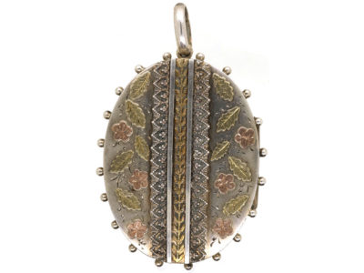 Victorian Silver & Gold Overlay Oval Shaped Locket With Flowers Motif