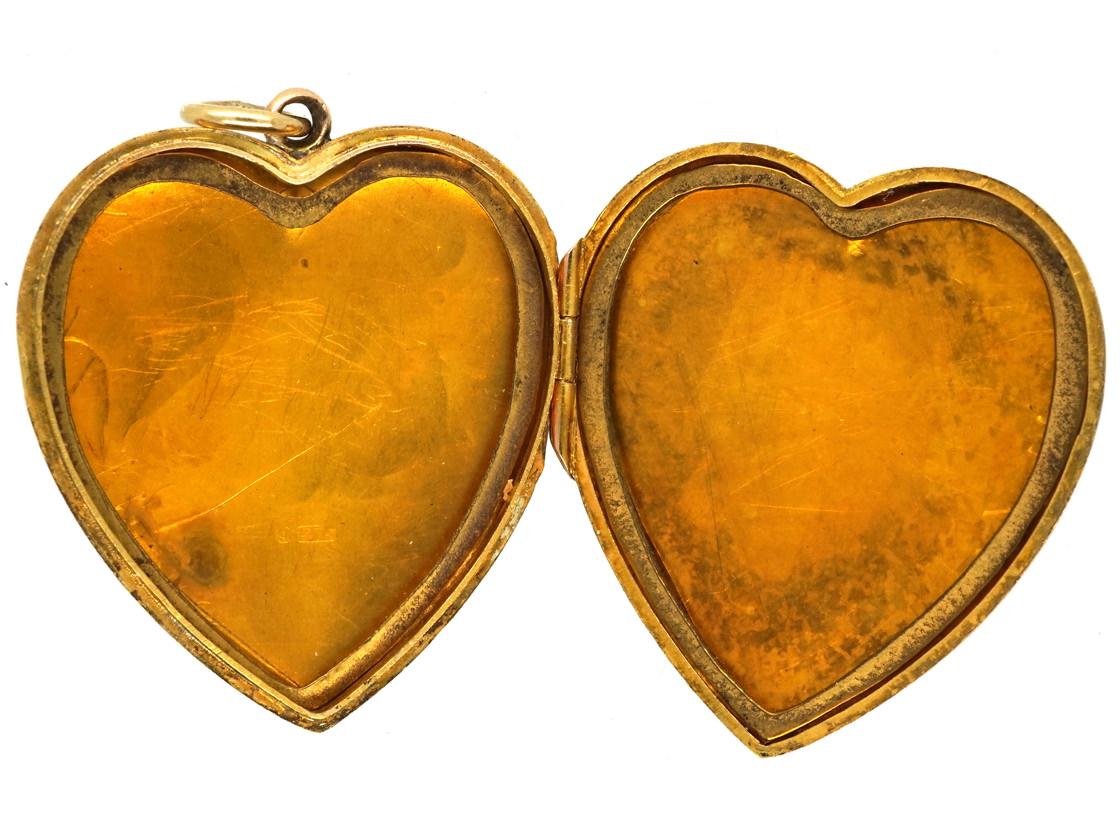 Edwardian 9ct Gold Engraved Heart Shaped Locket