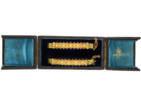 Victorian Matched Pair of 15ct Gold Bangle Set With Coral & Natural Split Pearls in Their Original Case