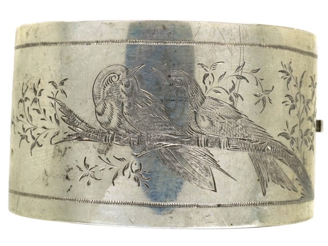 Victorian Wide Silver Bangle With Engraved Song Birds