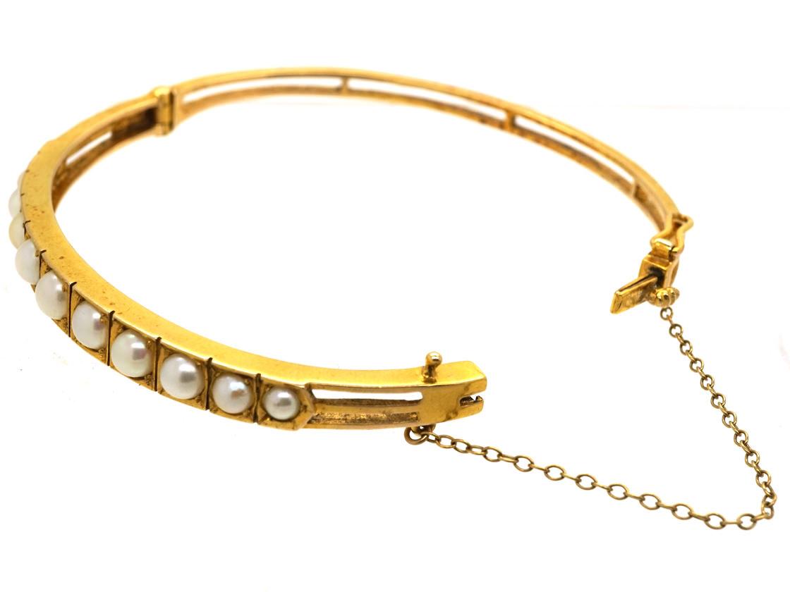 Edwardian 9ct Gold Bangle Set With Natural Split Pearls