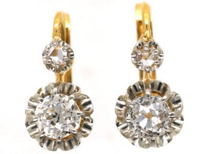 French 18ct Gold Diamond Set Drop Earrings